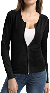 Women Knit Zipper Sweater Casual Long Sleeve Sweater Tops with Pockets