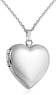 YOUFENG Love Heart Locket Necklace That Holds Pictures Polished Lockets Necklaces Birthday Gifts for Girls Boys