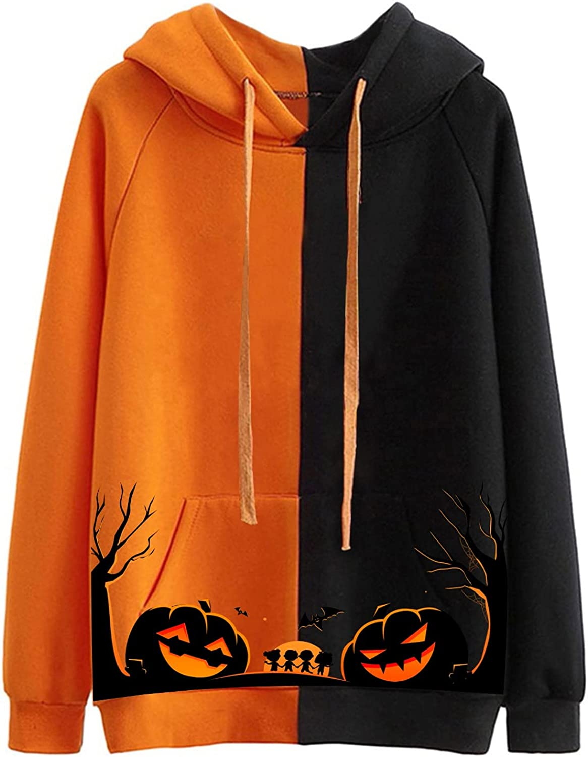 Hooded Super intense SALE Rare Sweatshirts for Women Long Stitching Hallowe Sleeve Color