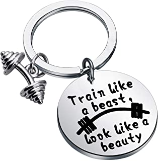 FEELMEM Workout Gift Fitness Gift Train Like a Beast Look Like a Beauty Sports Quotes Bodybuilding Keychain Gift for Bodybuilder Personal Trainer