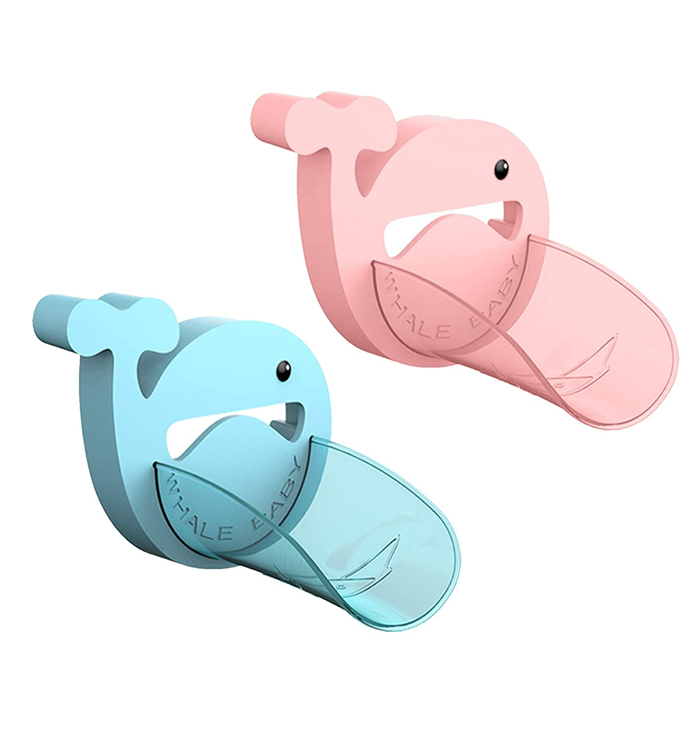 2PCS Faucet Extender, Blue and Pink Faucet Extension with Cartoon Crab Faucet Cover, Hand Washing Device for Children Toddlers Kids Babies