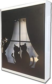portachiavi con viti e ancoraggi Portachiavi decorativo da parete in ferro 28 cm con 4 ganci per chiavi organizer per chiavi di casa o auto gatto e cane