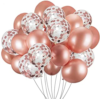 Confetti Balloons Rose Gold 30 Pcs, 12 Inches Latex Balloons Set Ideal for Weddings Birthday Party Decoration, Bachelorett...
