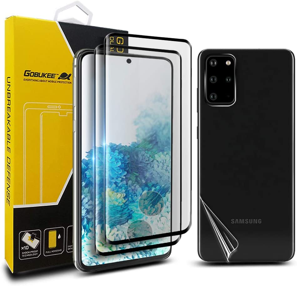3Pack GOBUKEE Compatible with Samsung Galaxy S20 Plus Screen Protector Tempered Glass,Full Coverage,Bubble Free,Easy to Install,Case Friendly