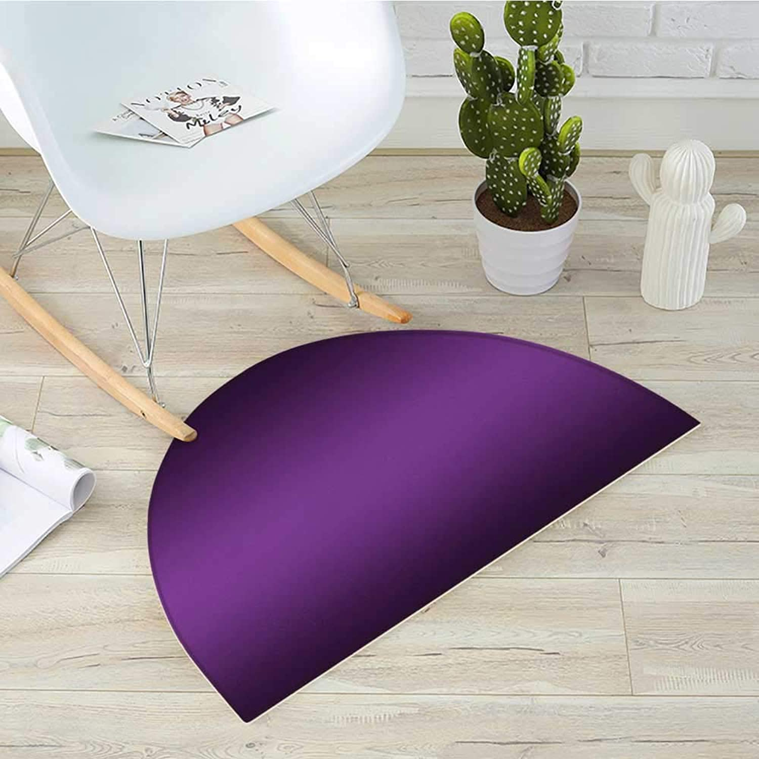 Ombre Semicircular CushionCinema Curtain Movies Series Inspired color Ombre Design Digital Artsy Styled Print Image Entry Door Mat H 39.3  xD 59  Purple
