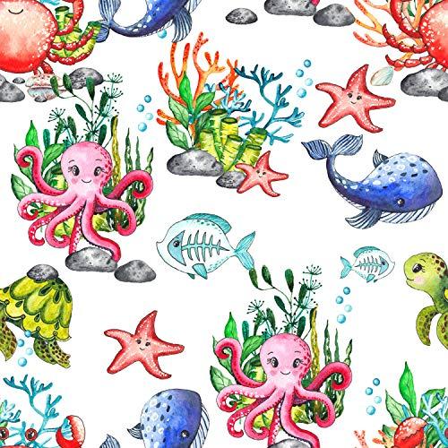wandmotiv24 Fototapete Kinderzimmer Unterwasser Meeresleben XS 150 x 105cm - 3 Teile Fototapeten, Wandbild, Motivtapeten, Vlies-Tapeten Aquarell Wasser Oktopus Fische M5812