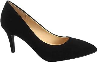 FZ-Coen-s Women's Classic Pointed Toe Low Heel Comfort Pump Office Shoes (8.5 B(M) US, Black/Nubuck)