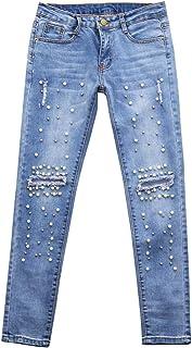 pantalones rotos mujer, Sannysis vaqueros slim fit mujer talle alto flaco pantalones largos elásticos Stretch Pantalones lápiz Jeans vaqueros mujer de vestir talla grande decoración de perlas