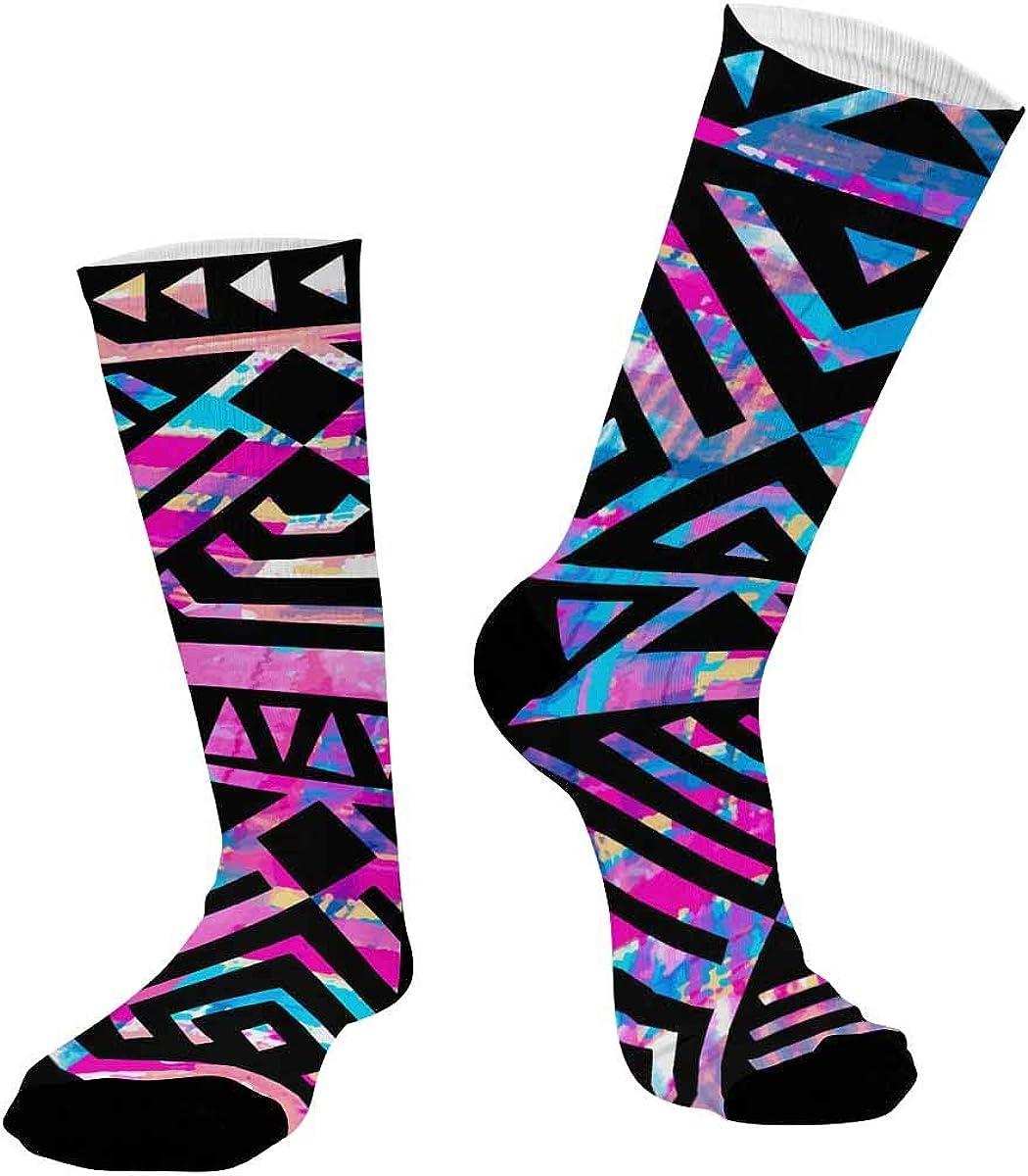 INTERESTPRINT Sublimated Crew Casual Athletic Socks Boho Textile Pattern