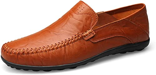 CHENDX Chaussures, Nouveaux Mocassins décontractés pour Hommes de la Mode pour Hommes Mocassins Souples (Couleur   rouge marron HolFaible Vamp, Taille   39 EU)