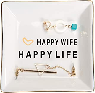 HOME SMILE Wife Gifts from Husband Ring Trinket Dish for Birthday Anniversary-Happy Wife Happy Life