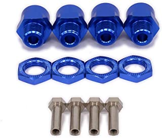 4-Pack 12mm to 17mm Extension Wheel Hex Hub Driver Adapter M12 to M17 Metal Conversion Parts for 1/10 RC Model Car HSP (Navy Blue)