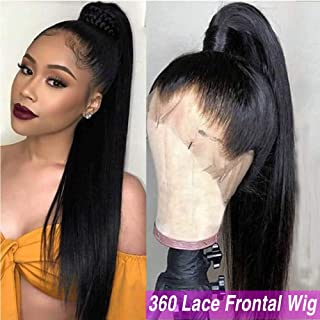 Sterly 360 Lace Frontal Wig Pre Plucked With Baby Hair Lace Front Wigs Human Hair Straight Human Hair Wigs Natural Hairline For Black Women(20inch)