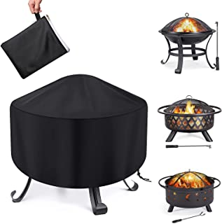 Fire Pit Cover Round Waterproof Fit for 80/90/100cm Outdoor Round Firepit or Fire Bowl 420D Heavy Duty Firepit Cover, Blac...