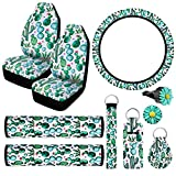 10 Pieces Car Seat Covers Cactus, 2 Pieces Cactus Car Seat Covers 2 Pieces Seat Belt Cover Shoulder Pads, Steering Wheel Cover, 2 Pieces Car Vent Clips and 3 Pieces Cactus Print Key Rings