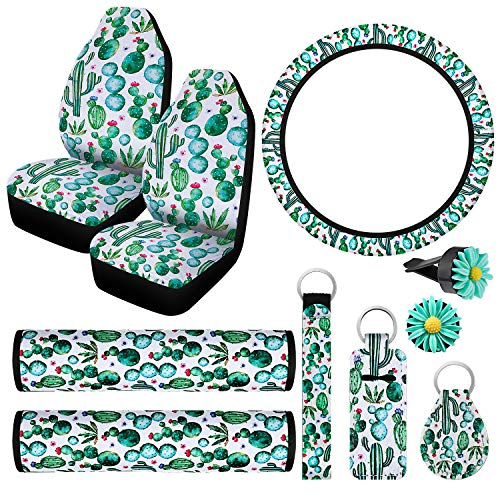 10 Pieces Cactus Print Car Accessories, 2 Pieces Cactus Car Seat Covers 2 Pieces Seat Belt Cover Shoulder Pads, Steering Wheel Cover, 2 Pieces Car Vent Clips and 3 Pieces Cactus Print Key Rings