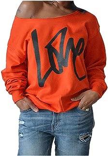 neveraway Women's Off Shoulder Printed Long Sleeve Casual Blouse Sweatshirts