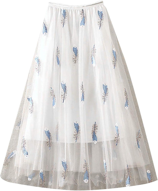Women's Spring Summer Sheer Tutu Skirt Layered Elastic Waist Ballet Party Tulle Mesh Skirt