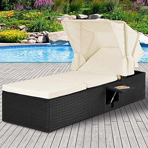 Casaria Poly Rattan Sonnenliege Gartenliege Schwarz Faltbares Sonnendach 7cm Dicke Auflagen Klapptisch verstellbar - 2