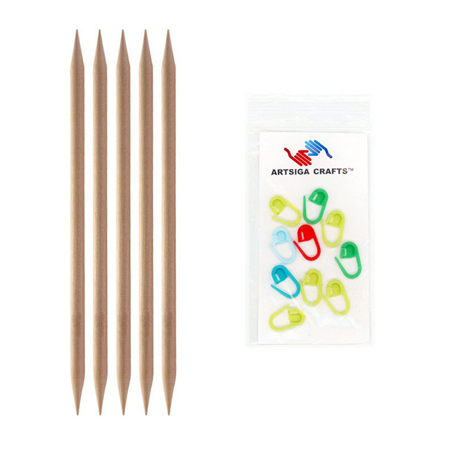 Knitter's Pride Basix Double Pointed 8-inch (20cm) Knitting Needles Size 10 (6.0mm) Bundle with 10 Artsiga Crafts Stitch Markers 400111
