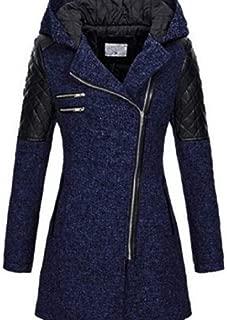 Macondoo Women Wool-Blended Hooded Oblique Zipper Trenchcoat Winter Lapel Pea Coat