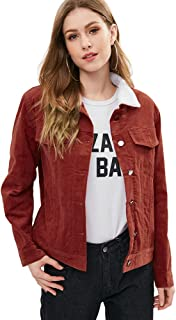 DEZZAL Women's Vintage Faux-Shearling Sherpa Button Down Corduroy Jacket
