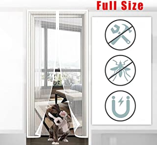 AMCER Magnetic Screen Door 64x82inch, Anti Mosquito Magnetic Soft Door, Automatic Closure Magnetic adsorption, Powerful Magnets, for Living Room/Patio Door - White