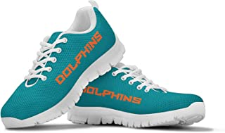 Miami Dolphins Themed Casual Athletic Running Shoe Mens Womens Sizes Football Apparel and Gifts for Men Women Fan NFL Merchandise