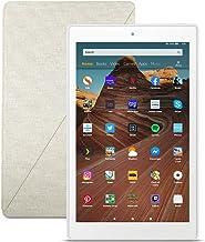 Fire HD 10 Tablet (32 GB, Sandstone White) + Amazon Standing Case (Sandstone White)