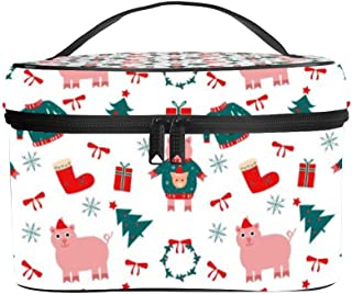 Beau Toby Christmas Pig Wearing Ugly Clothes Women Portable Travel Cosmetic Bag Makeup Bag Litchi PU Leather Handy Toiletry Washing Bag Receiving Bag