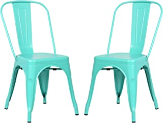 Poly and Bark Trattoria Kitchen and Dining Metal Side Chair in Aqua (Set of 2)