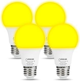 LOHAS Yellow Bug Light Bulbs, A19 LED Bulb Amber Night Lights 2000K, 60W Light Bulb Equivalent(9W), E26 Medium Base Porch Light 120V, Not Dimmable Lighting for Hallway Holiday Party(4 Pack)