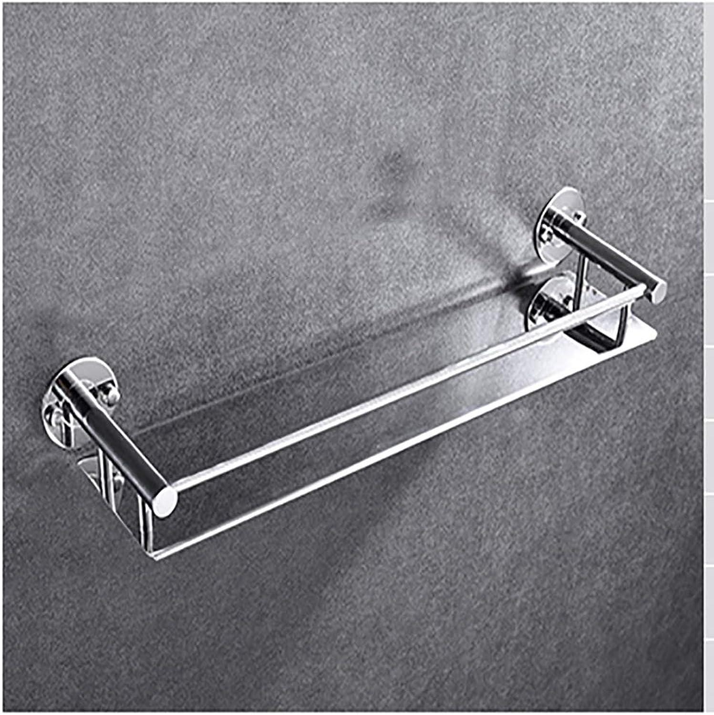 XSJJ Punch-Free Stainless Steel Bathroom Shelf Punch-Free Stainless Steel Wall-Mounted Storage Rack Optional Specifications Bathroom Glass Shelf (Size   43  12CM)