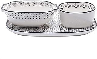 JJINPIXIU Moules à pâtisserie en porcelaine, ensemble d'ustensiles de cuisson en céramique, plat de cuisson rectangulaire ...