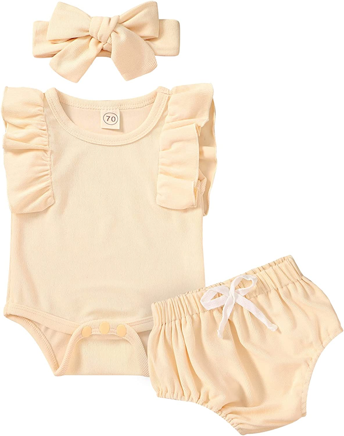 CBHAIBLYD Newborn Infant Baby Girl Clothes Romper Short Sets Solid Ruffle Summer Outfits 3Pcs Cute Baby Clothing Girls