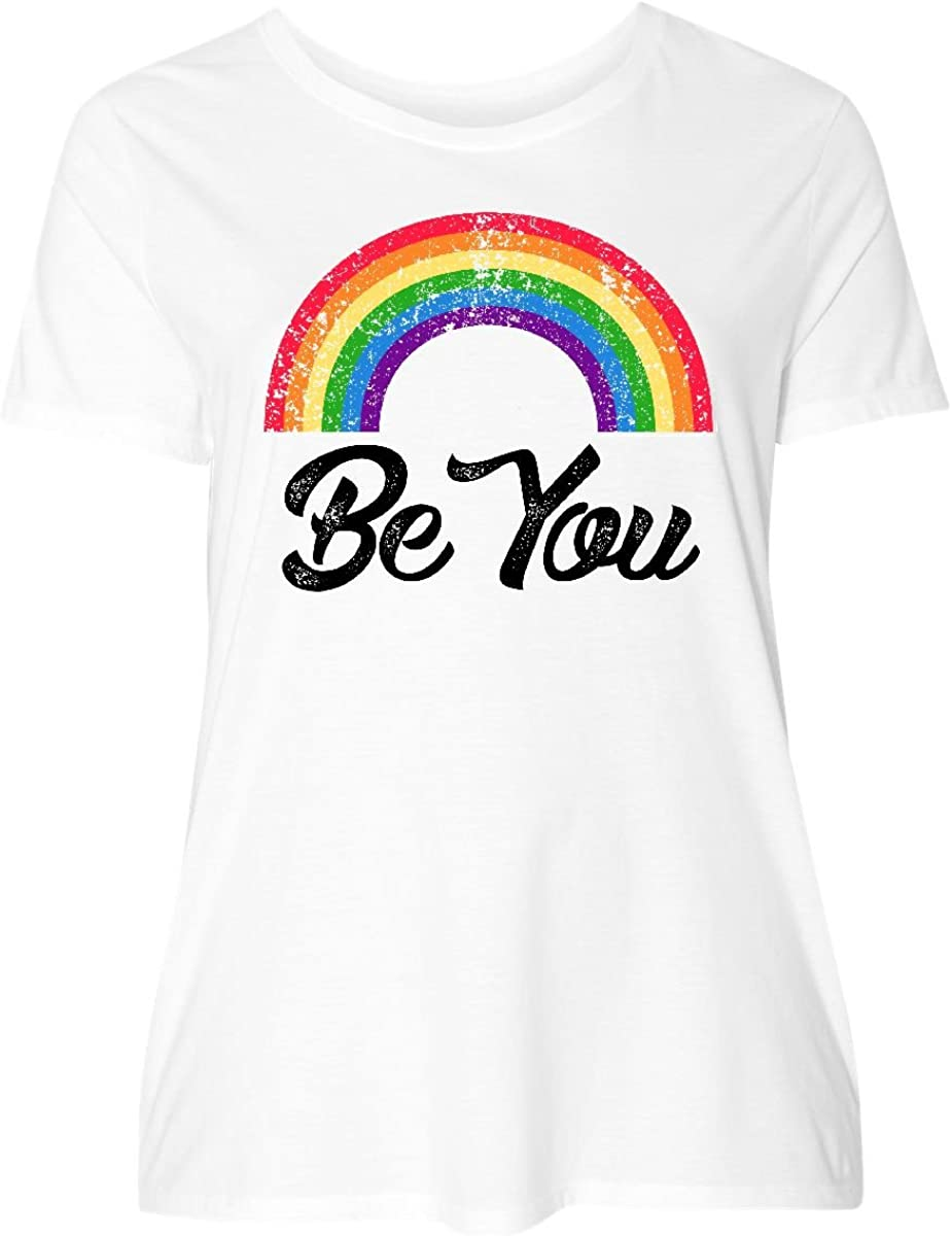 inktastic Be You with Rainbow Size T-Shirt Plus Super-cheap Fashion Women's
