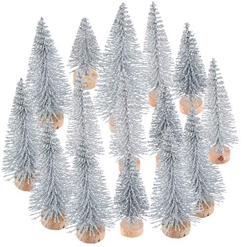 NIU MANG 15 Pcs Mini Christmas Tree Bottle Brush Christmas Trees with Glitter Powder Artificial Sisal Tabletop Sisal with Wood Base for Christmas Party Home Decoration(5 Sizes, Sliver)