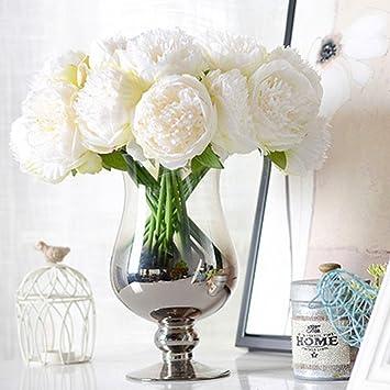 Lianle Handmade Peony Flowers Artificial Floral Decorative Bridal Bouquet Without Vase White Amazon Co Uk Kitchen Home