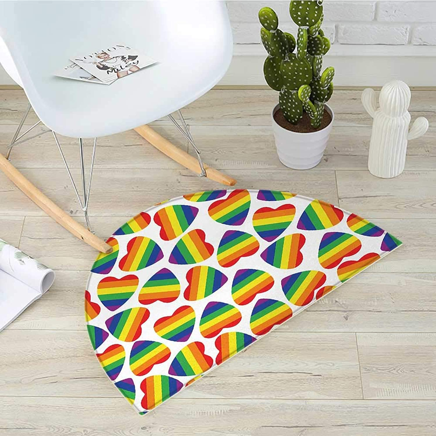 Pride Half Round Door mats Cute Heart Shapes in LGBT colors Striped Design with Homosexuality Liberation Theme Bathroom Mat H 39.3  xD 59  Multicolor