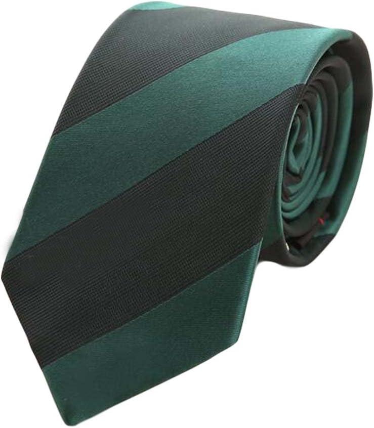 Wukong Direct Formal Neckties Mens Polyester Skinny Neckties Dark Green Diagonal Stripes 7 cm