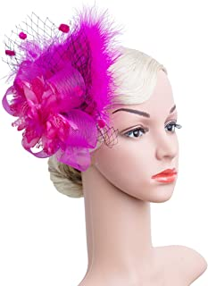23f8c09005baa Women s Fascinators Hat Hair Clip Feather Wedding Headware Bridal 1920s  Headpiece