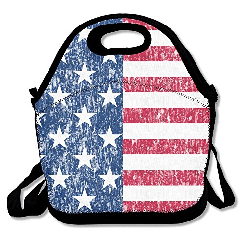 Afgestemde Amerikaanse vlag Lunch Bag Tote Handtas Lunchbox Voedsel Container Tote Cooler Warm Pouch Voor School Werk Kantoor