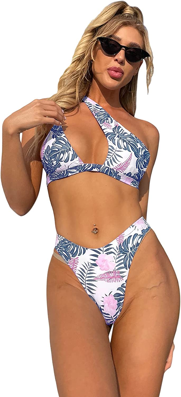 WDIRARA Women's Cutout Print Bandeau Top and Tie Side Bikini Set 2 Piece Sexy Swimsuits