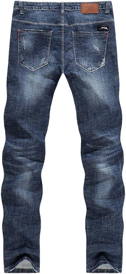 KIUYMRV Hommes Biker Jeans Ripped été Slim Straight Fit Elasticité Bleu Homme Pantalons Longs Motocycle Jeans Blue