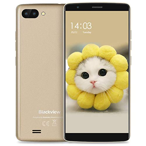"Blackview A20 (2018) Mobile Phone, Android(8.0) Go, UK SIM-Free Smartphone with 5.5""(18:9) HD IPS Full Display - 8GB ROM - 3000mAh - Dual Rear Cameras - Dual SIM Unlocked Smartphone - Gold"