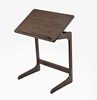 Sofa Table TV Tray, NNEWVANTE Couch Sofa End Table Laptop Desk Bamboo Coffee Side Table Snack Tray for Eating Writing Reading Living Room Home Decor Easy Assemble Adjustable Tilt Top 【5 Slots】-Walnut