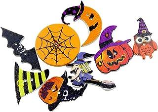 SUPVOX 50 peças de botões de madeira de Halloween, abóbora de abóbora, bruxa de coruja, 2 furos, fecho de botão de costura...