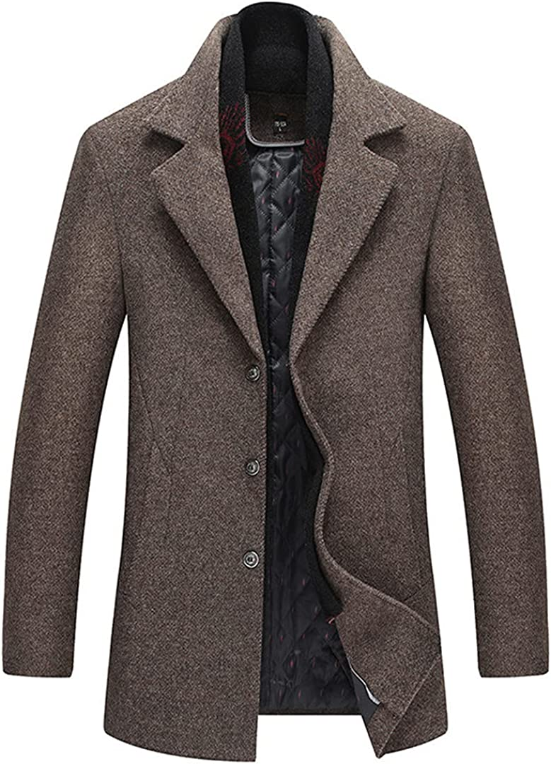 Men Winter Wool Coat Scarf Lapel Solid Color Thick Pea Coat Male Trench Coat Casual Wool Blend Overcoat