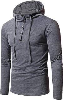 FSSE Men Plain Casual Button Long Sleeve Pullover Hoodies Hooded Sweatshirt