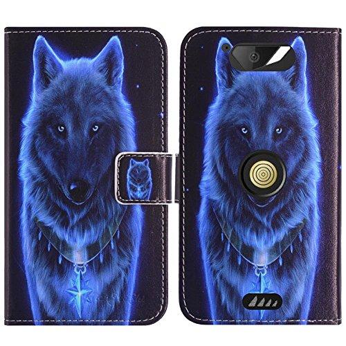 TienJueShi Wolf Flip Book-Style Brief Leder Tasche Schutz Hulle Handy Hülle Abdeckung Fall Wallet Cover Etui Skin Fur Crosscall Action x3 5 inch